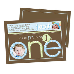 Birthday Invitation - First Birthday in Blue, Green, and Brown