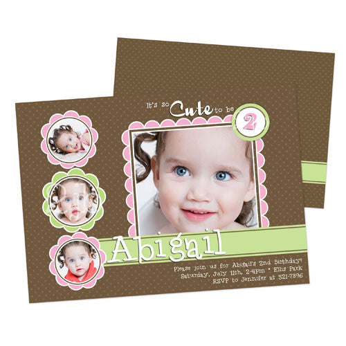 Birthday Invitation - Brown, Pink, and Green with Polka Dots