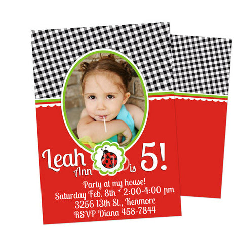 Birthday Invitation - Little Ladybug