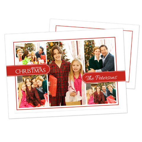 Christmas Photo Card - Simple Red and White