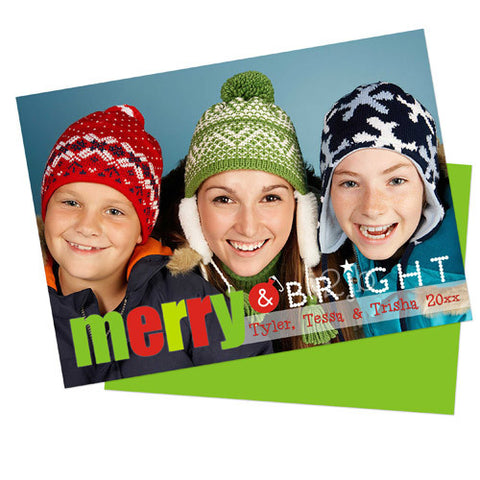Christmas Photo Card - Merry & Bright