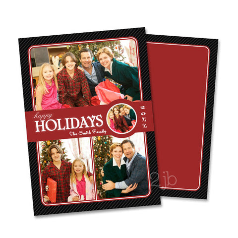 Christmas Photo Card - Elegant Red and Black