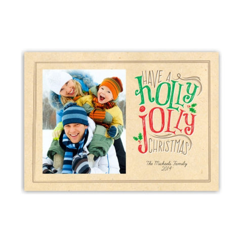Holly Jolly Kraft Paper Christmas Photo Card