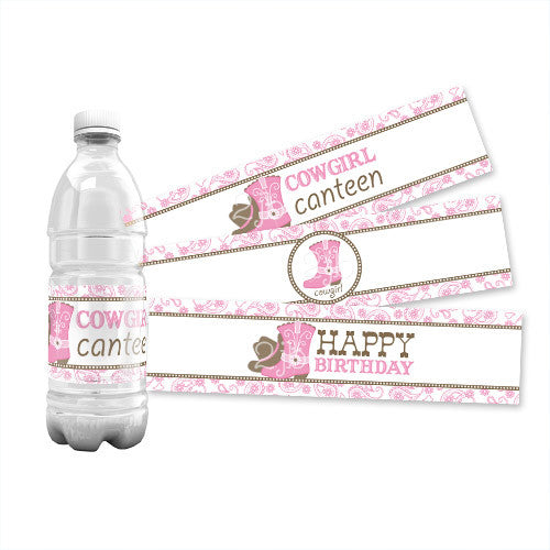 Cowgirl Water Bottle Labels