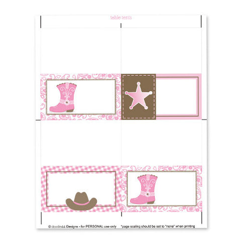 Cowgirl Table Tent Cards