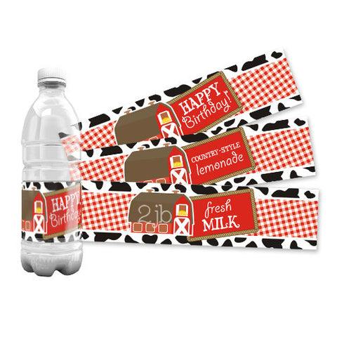 Farm/Barnyard Water Bottle Labels
