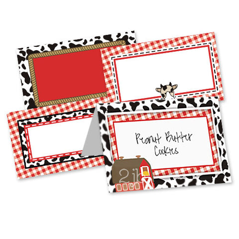 Farm/Barnyard Table Tent Cards