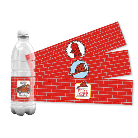 Firetruck Water Bottle Labels