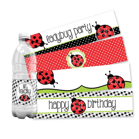 Ladybug Water Bottle Labels