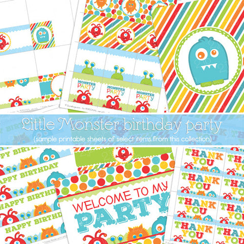 Little Monster Printable Party Package