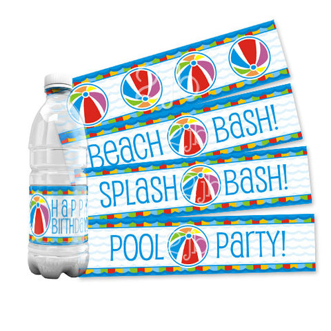 Pool/Beach Water Bottle Labels