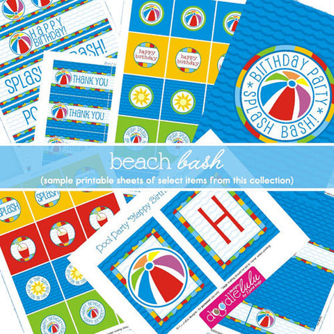 2 june bugs Pool Party Printable Party Package