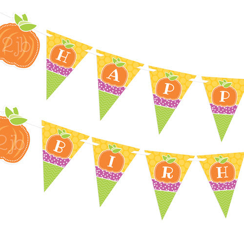 2 june bugs Pumpkin Party Printables - Happy Birthday Pennant Banner for Fall Birthday Party