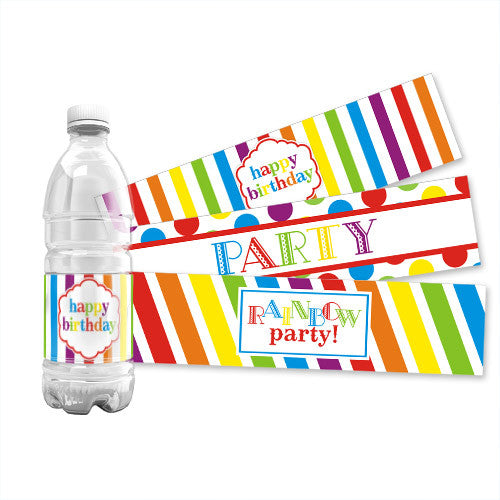 Rainbow Water Bottle Labels