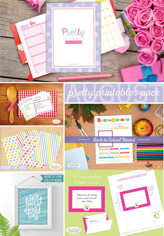 2 june bugs Monthly Pretty Printables Pack for August