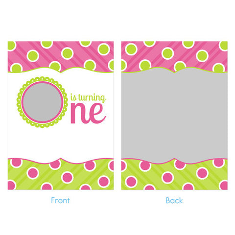 Birthday Invitation - Pink and Green with Polka Dots and Stripes