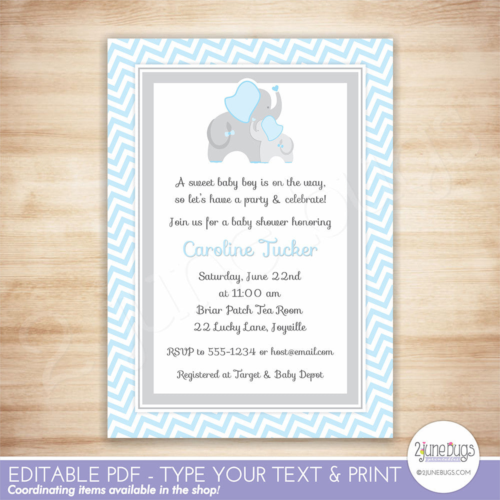 2 june bugs Elephant Baby Boy Shower Invitation Template