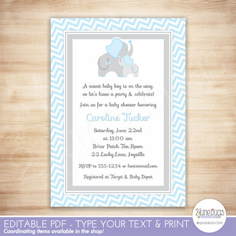 Elephant Baby Shower Invitation (blue chevron)
