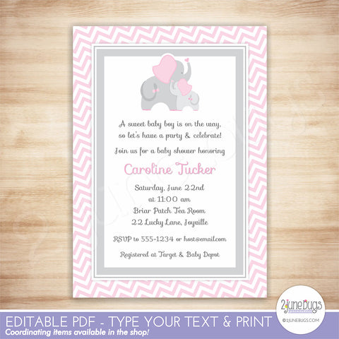 Elephant Baby Shower Invitation (pink chevron)