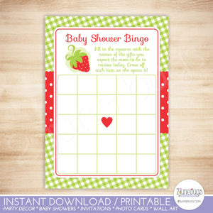 Strawberry Bingo Baby Shower Game in Red