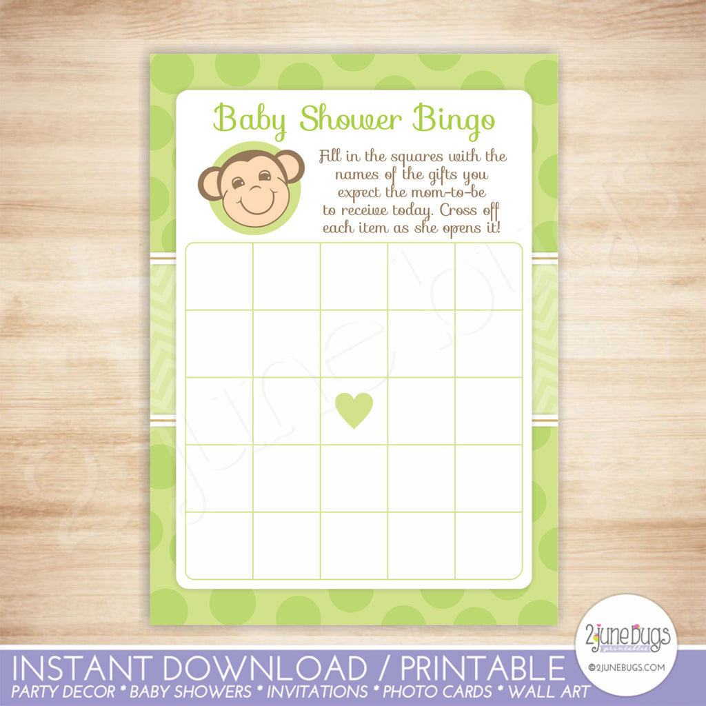 Mod Monkey Bingo Baby Shower Game in Green Dots