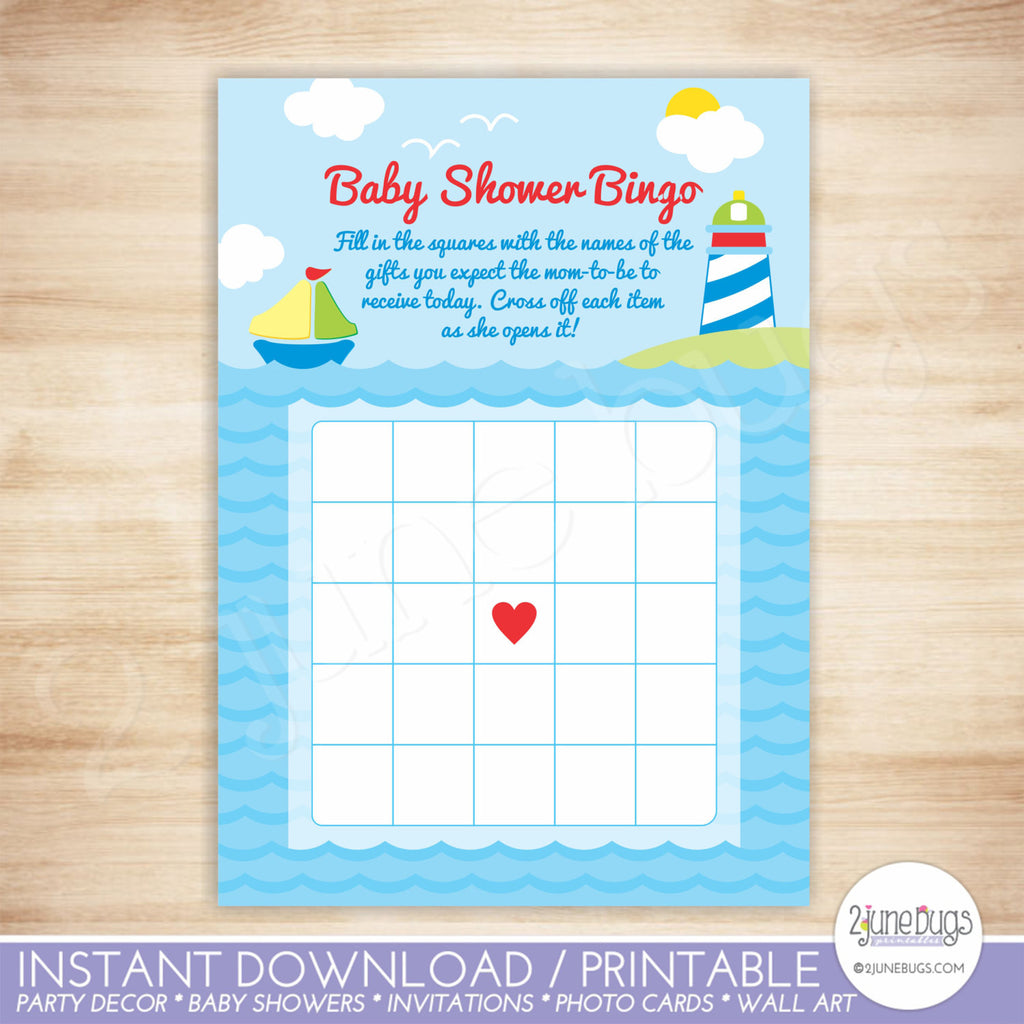 Nautical Sailboat Bingo Baby Shower Game