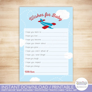Airplane Baby Shower Wishes for Baby Activity in Red and Blue