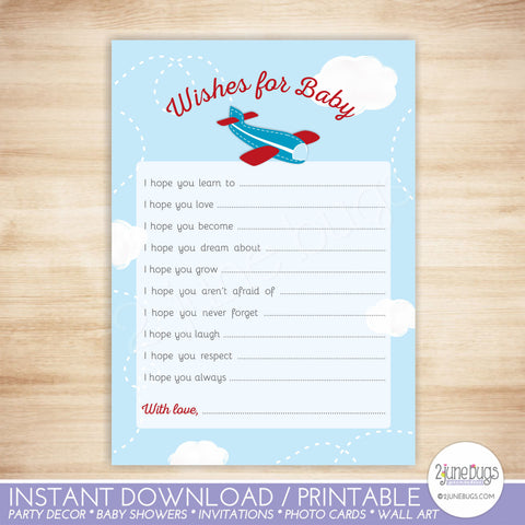 Airplane Baby Well Wishes Baby Shower Activity