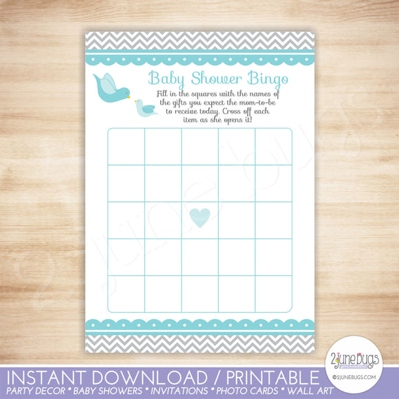 Little Bird Bingo Baby Shower Game in Blue and Gray