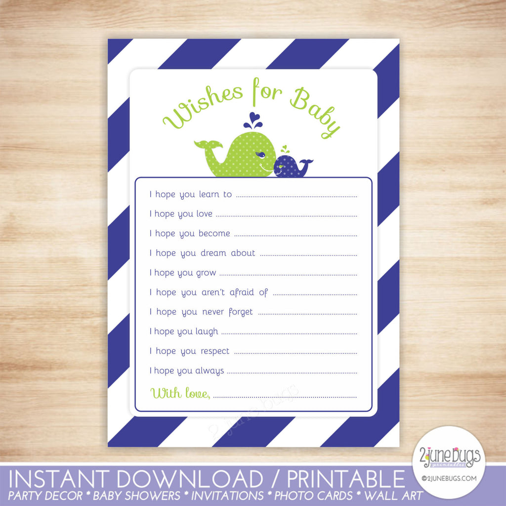 Whale Baby Shower Well Wishes in Navy Blue Green Stripes