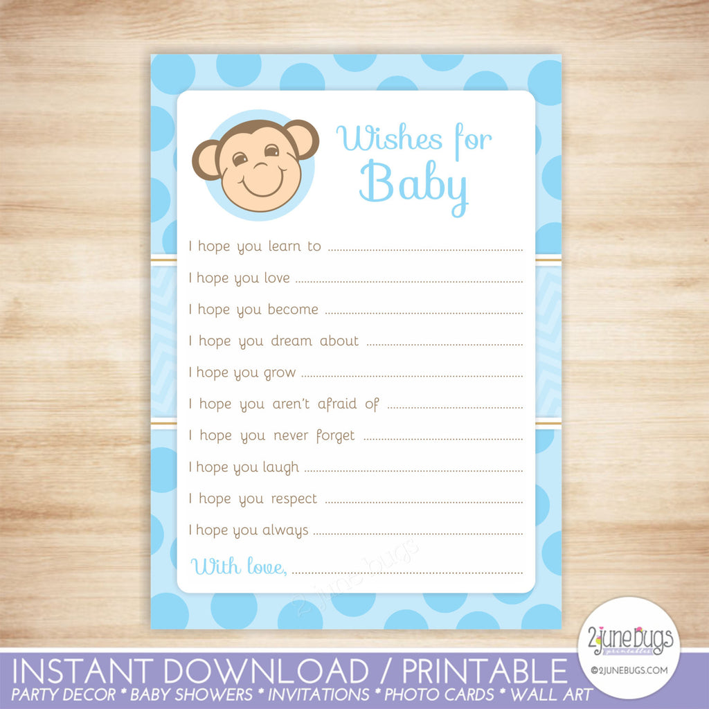 Monkey Baby Well Wishes Baby Shower Activity in Blue