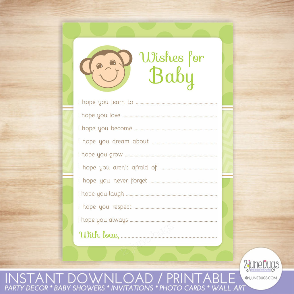 Monkey Baby Well Wishes Baby Shower Activity in Green