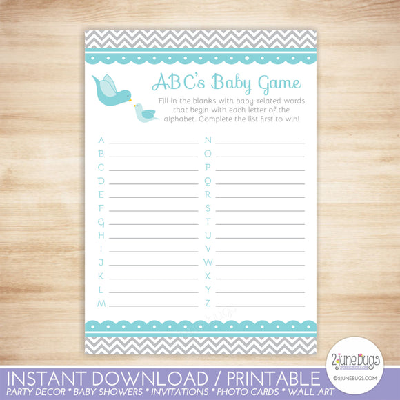 Little Bird ABCs Baby Shower Game in Blue and Gray