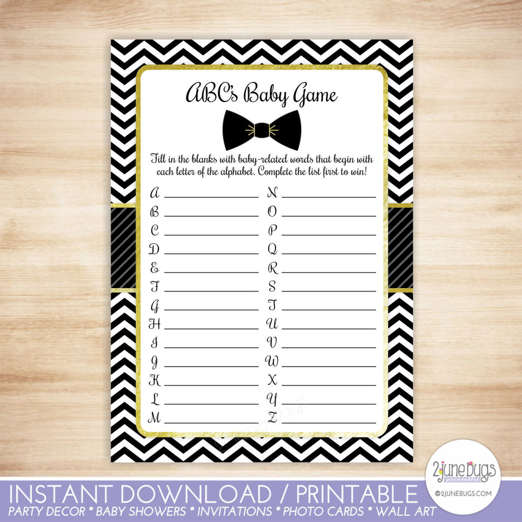 Bow Tie ABC's Baby Shower Game in Black and Gold
