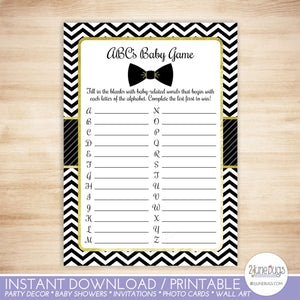 Bow Tie ABCs Baby Shower Game in Black and Gold