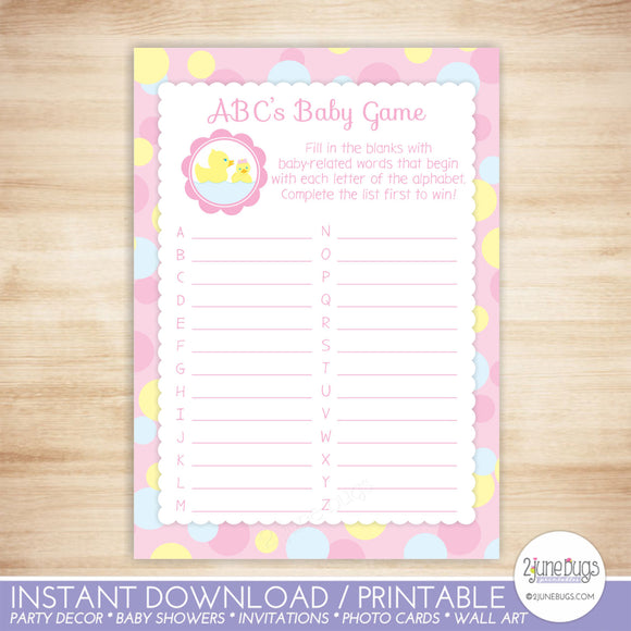 Rubber Duck ABCs Baby Shower Game in Pink