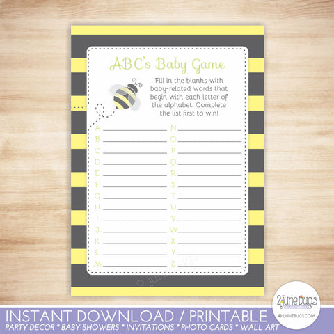 Bumblebee ABC's Baby Shower Game in Black and Yellow Stripes