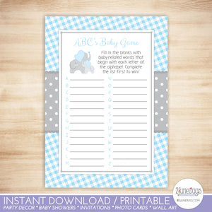 Elephant ABCs Baby Shower Game in Blue and Gray Gingham