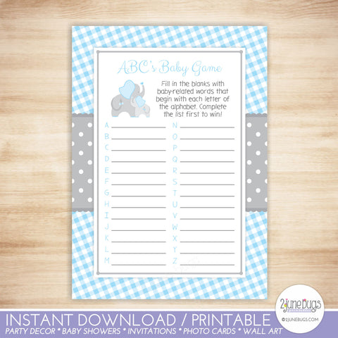 Elephant ABC's Baby Shower Game in Blue and Gray Gingham