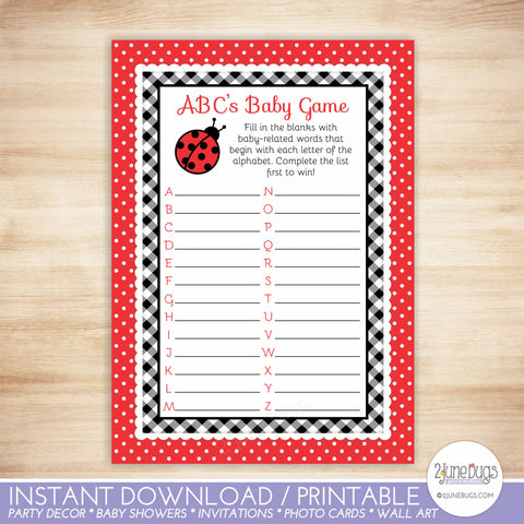 Ladybug ABC's Baby Shower Game in Red and Black Gingham