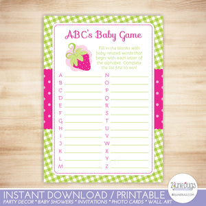 Strawberry ABCs Baby Shower Game in Pink