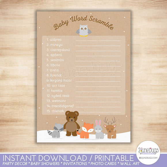 Winter Woodland Word Scramble Baby Shower Game