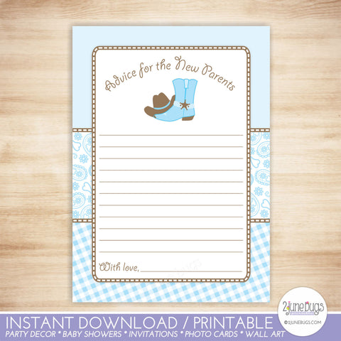Cowboy Advice for New Parents Baby Shower Activity in Light Blue and Brown