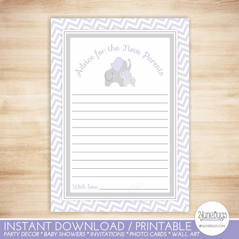 Elephant Baby Shower Advice for New Parents in Purple and Gray