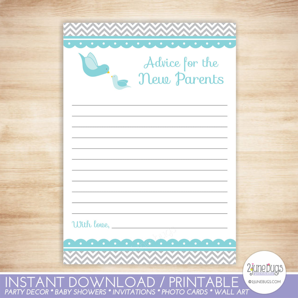 Little Bird Words of Advice Baby Shower Activity in Blue and Gray