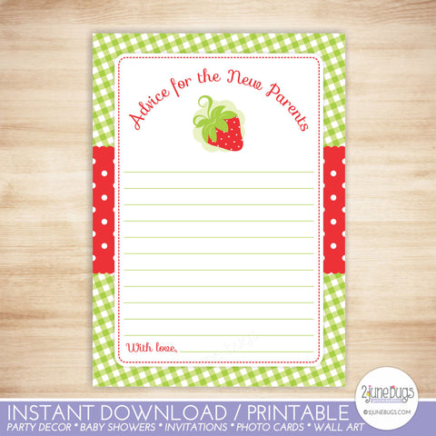 Strawberry Baby Shower Advice for New Parents Card