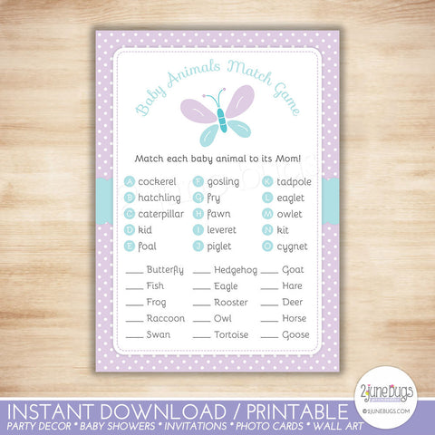 Butterfly Baby Shower Baby Animal Match Game in Purple and Turquoise