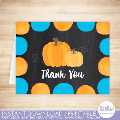Little Pumpkin Thank You Card in Blue and Orange