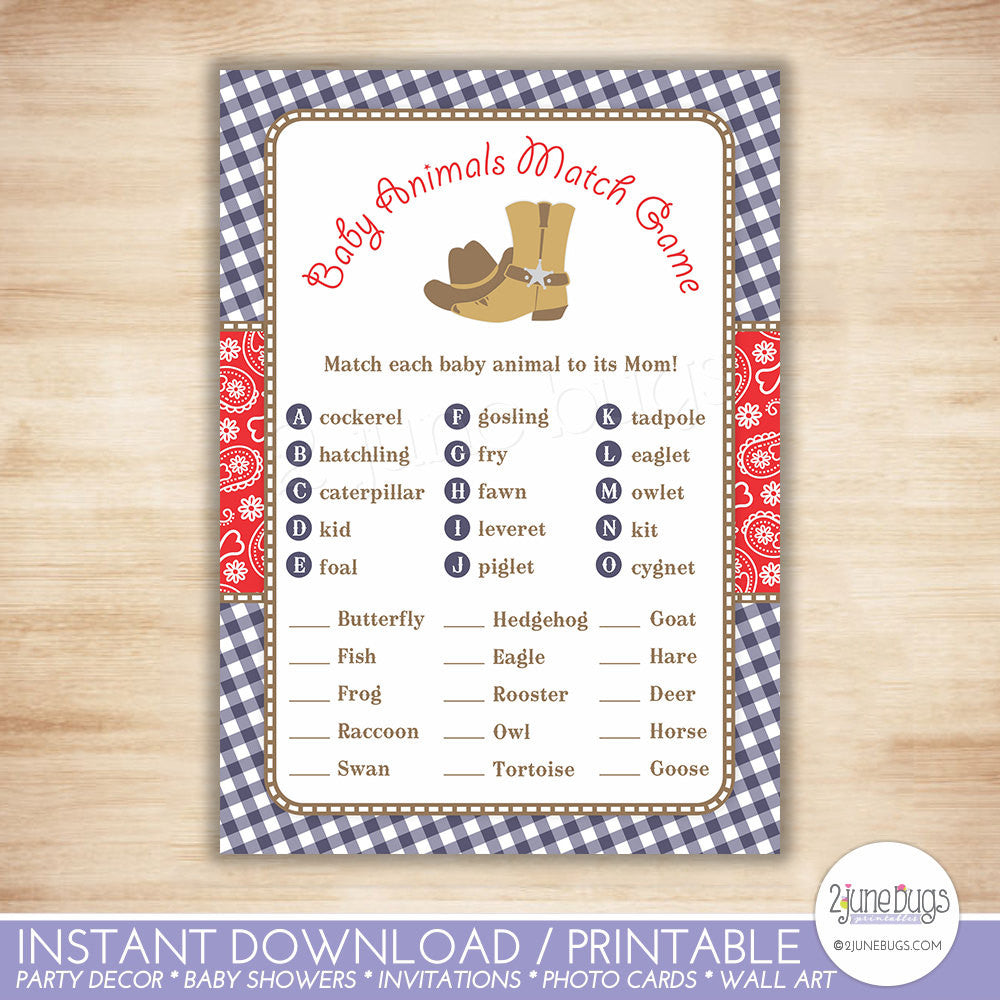 Cowboy Who's My Mama Baby Animal Match Baby Shower Game in Navy Blue and Red