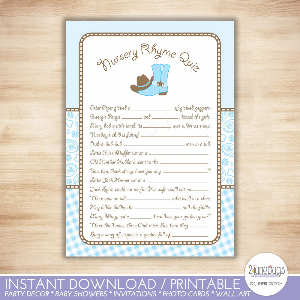 Cowboy Nursery Rhyme Quiz Baby Shower Game in Light Blue and Brown